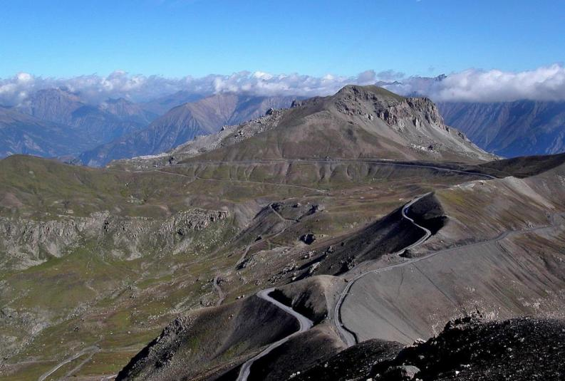 Twisty mountain top roads on Col de la Bonette, French Alps