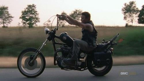 Daryl Dixon looking cool riding The Walking Dead motorcycle