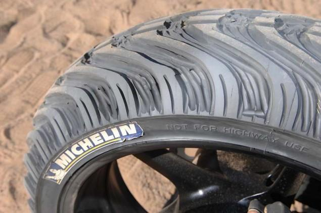 Handcut tires for a desert riding R1
