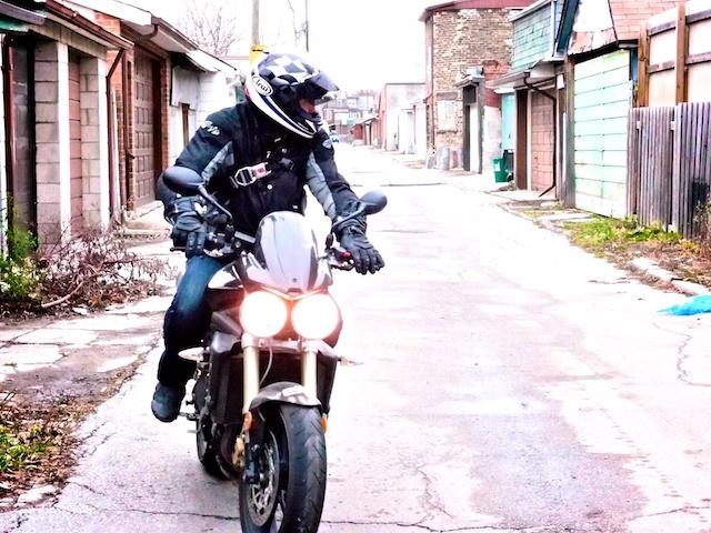 Taking off for a nice motorcycle ride on a cold day