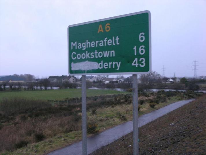 Londonderry Vandalised road-sign, Ireland