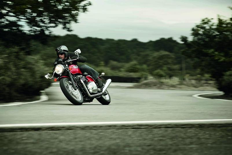 2013 Triumph Thruxton in action