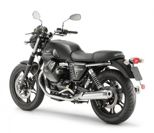 2013 Moto Guzzi V7 Stone - rear quarter view