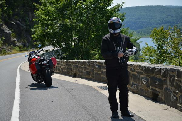 Alex at the top of the Hawk's Nest on the BMW S1000R
